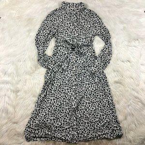 NEW LOFT Gray Leopard Animal Print Midi Dress